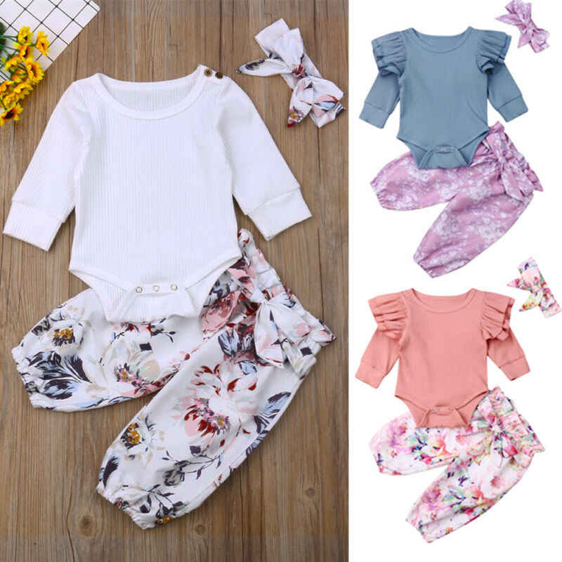 New Infant Baby Girl Headband And Romper Top And Floral Pants Legging Outfit Clothes