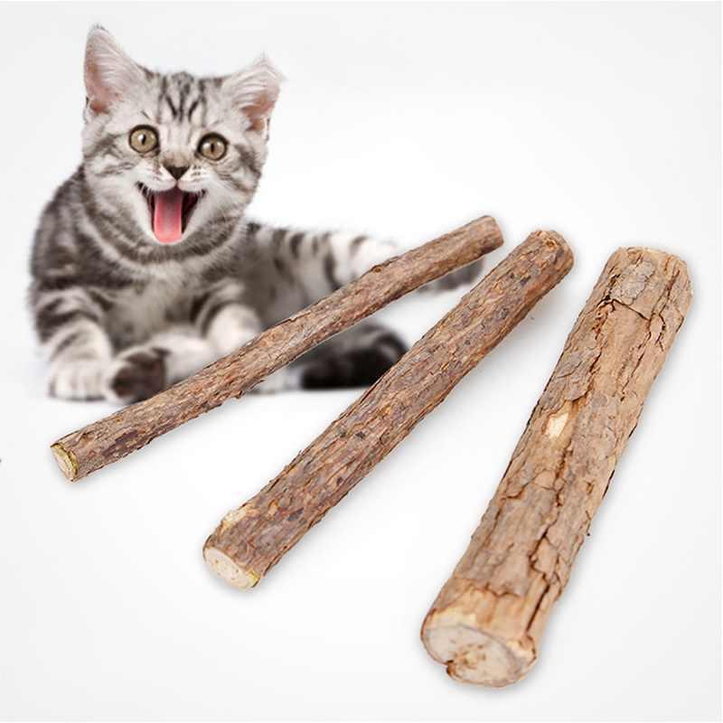 2/5Pcs טבעי עץ חתול Catnip מקל שיניים מברשת שיניים לחיות מחמד שיניים לטפל טוחנת ללעוס חתלתול ניקוי שיניים משחת שיניים אספקת צעצוע