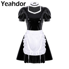 3Pcs Women Adults French Maid Cosplay Costume Outfit Square Neck Puff Sleeve A line Patent Leather Dress with Apron and Headband