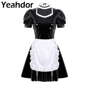 Image 1 - 3Pcs Women Adults French Maid Cosplay Costume Outfit Square Neck Puff Sleeve A line Patent Leather Dress with Apron and Headband