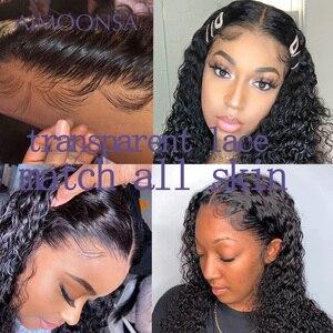 Image 4 - Прозрачный кружевной парик, кудрявые волосы 360, фронтальная кружевная часть, предварительно отобранные волосы, бразильские передние человеческие волосы, парики Aimoonsa Remy