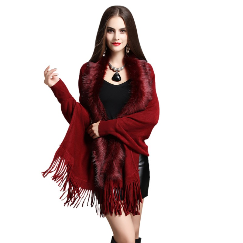 Women Fake Fox Fur Collar Cashmere Sweater Winter Fashion Femme Long Thick Knitted Tassel Cardigan Capes