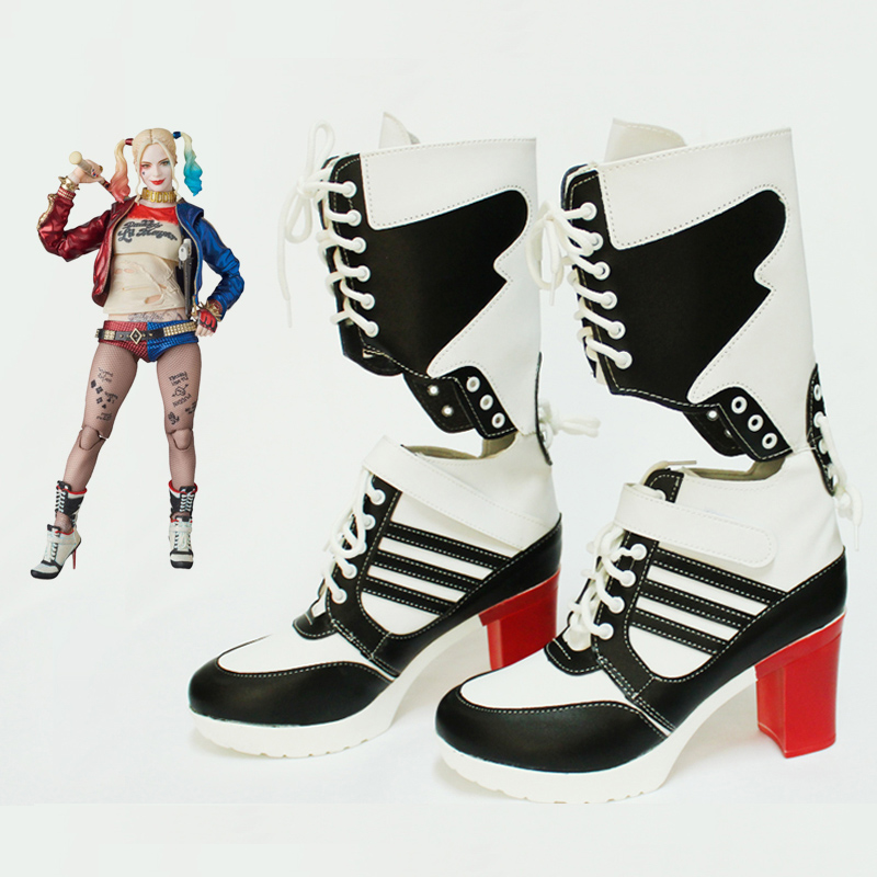 Adult Suicide Squad Harley Quinn Women Cosplay Costume Outfit Boots Shoes Gift