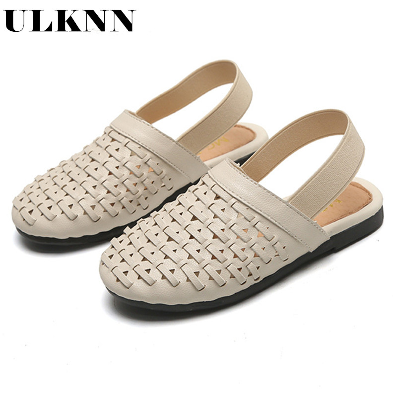 ULKNN Girls Sandals 2020 New Children's Knitting Baby Girl Princess Shoes Soft Bottom Baotou Big Virgin Sandals