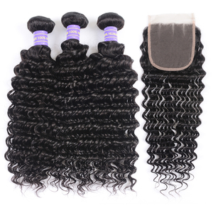 Image 3 - Klaiyi Hair Brazilian Deep Wave Bundles With Closure Free Part Human Hair Bundles With Closure Dark Black 4pcs Remy Hair Weaves