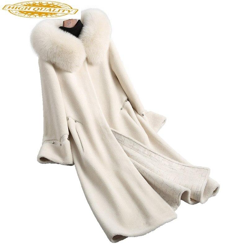 Women's Fur Coat Real Wool Female Jacket Sheep Shearing Fur Coats Warm Winter Jackets Natural Fox Fur Hood KQN18113-1