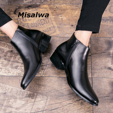 Misalwa Men Boots Italian Genuine-Leather British Zipper Cowhide Business-Winter/spring