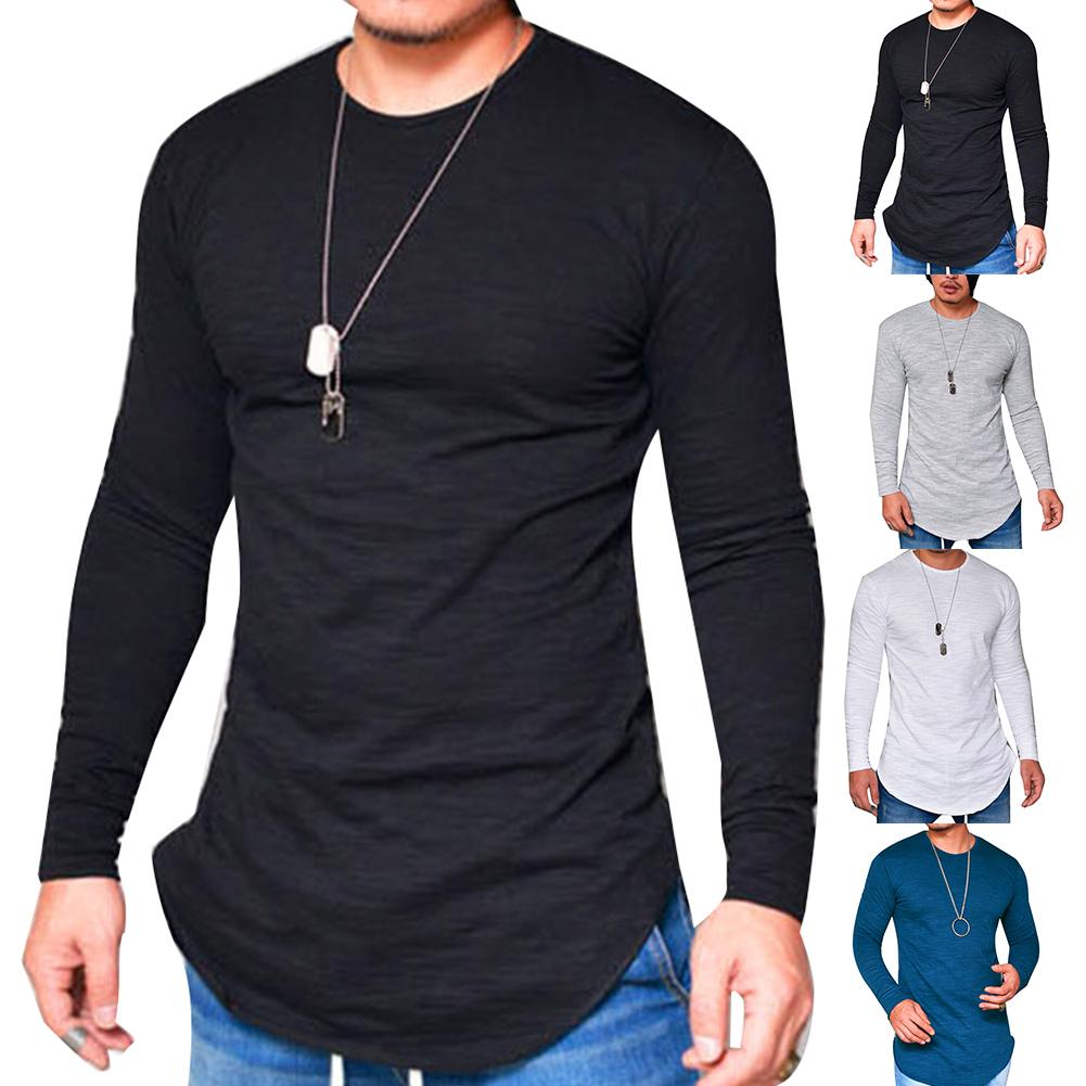 Casual Men Long Sleeve T-shirt Top Autumn Solid Color O Neck Cotton Thin T-shirt Bottoming Top Tee Shirt Homme