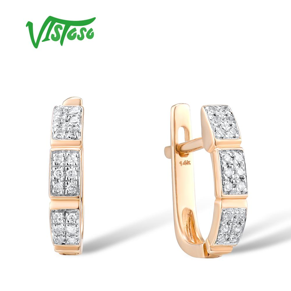 VISTOSO 14K 585 Rose Gold Earrings For Lady Glamorous Elegant Sparkling Diamond Earrings Luxury Wedding Engagement Fine Jewelry