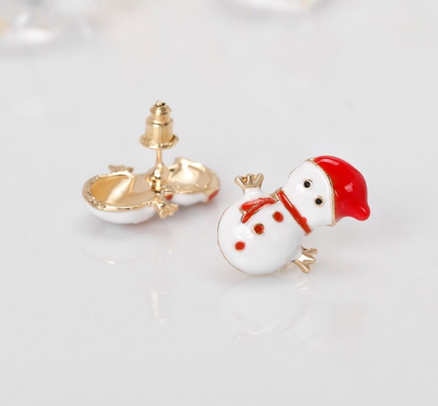 Enamel Elk Santa Claus Snowman Christmas Tree Bell Christmas fruit Hat Jewelry Christmas Earring For Women Girl New Year Gifts in Stud Earrings from Jewelry Accessories