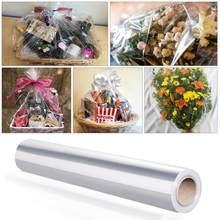 Стобок 80x3000 см прозрачная целлофановая бумажная подарочная упаковка рулон бумаги для упаковки подарков для цветов Прозрачная Обертка руло...