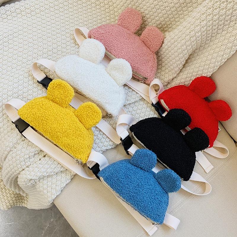 Kids Leather Waist Bag Cute Plush Fanny Pack Baby Girls Wallet Chest Bag Toddler Waist Packs Children Phone Belt Bag