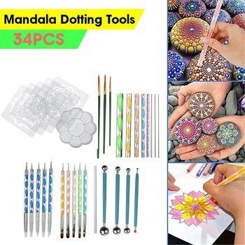 34 sztuk Mandala rozsianych narzędzia do malowania skały Mandala malowanie rozsianych wzornik Dot Mandala zestaw paznokci Rock tkaniny diy ściana Art tanie i dobre opinie CN (pochodzenie)
