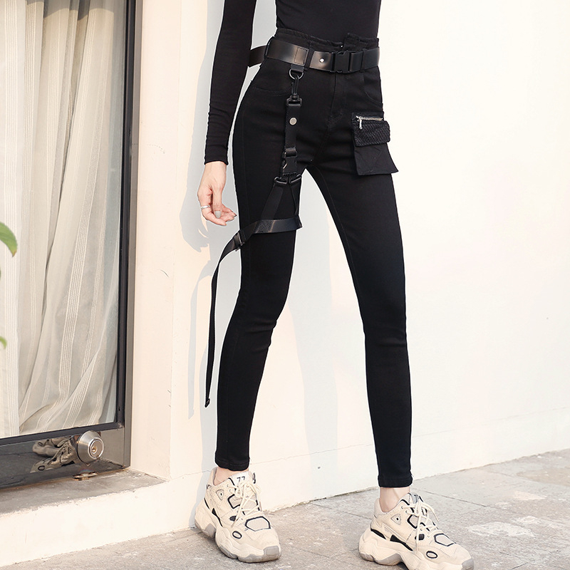 Spring Autumn Female Streetwear Retro Trousers Hip Hop High Waist Women Black Jeans Leg Ring Sashes Skinny Punk Denim Pants K101