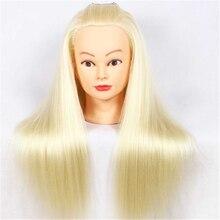 24 Yaki Synthetic Fiber Hair Practice Model Styling Training Head Cosmetology Doll Golden Brown Beige Color Manikin
