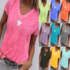 2021 Summer T Shirt Women Casual V-Neck T-shirts Female Short Sleeve Tops For Girls Grey Solid Top Femme Tee Shirt Femme 2