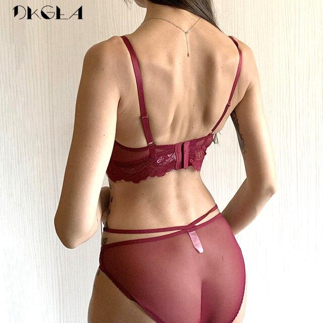 2019 Top Sexy Bra Set Push-Up Brassiere Bandage Black Embroidery Lingerie Sets Women Thick Gather Underwear Set Cotton Bras Lace 2