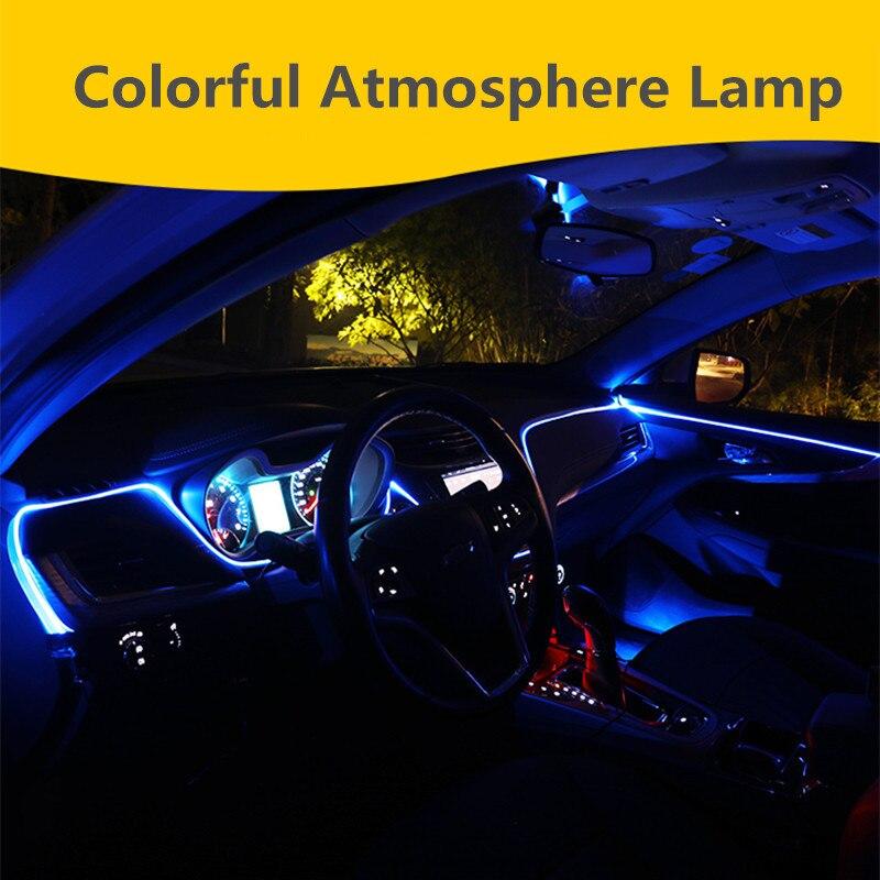 6M New Sound Active EL Neon Strip Light RGB LED Car Interior Multicolor remote Control Atmosphere 12V new
