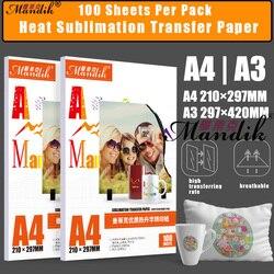 100gsm A3 A4 100 ورقة لكل مجموعة النافثة للحبر الطباعة التسامي نقل الحرارة ورق طباعة الصور