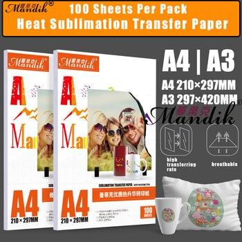 100gsm A3 A4 100 hojas por lote inyección de tinta impresión sublimación Transferencia de Calor papel fotográfico