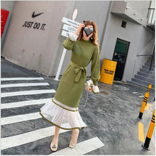Women Lace Patchwork Sweater Dress Autumn Winter Knitted Lon
