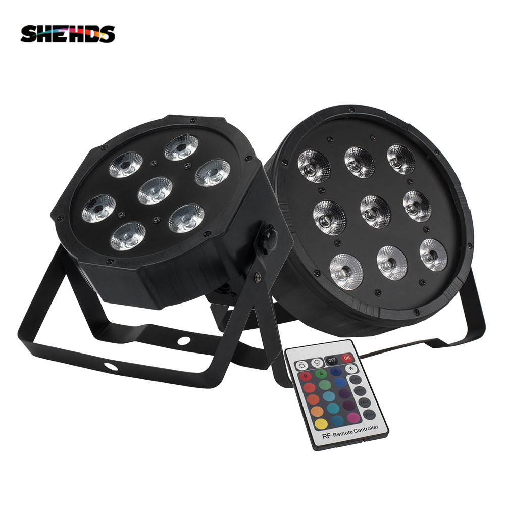 1PCS Wireless Remote Control 7x18W RGBWA UV 6in1 Led Par Flat Stage Wash Wall Lighting 7x12W 9x12W Uplighting Disco DJ Party