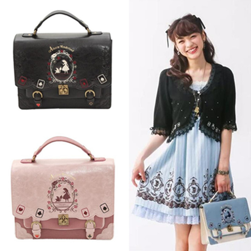 Hot Movie Alice In Wonderland Woman Lolita Shoulder Bag Poker Backpack Cosplay Costumes Props Girl Maid Japan Hansenne Handbag