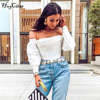 Hugcitar 2019 slash neck long sleeve white solid sexy crop tops autumn winter women streetwear club party outfits T-shirts