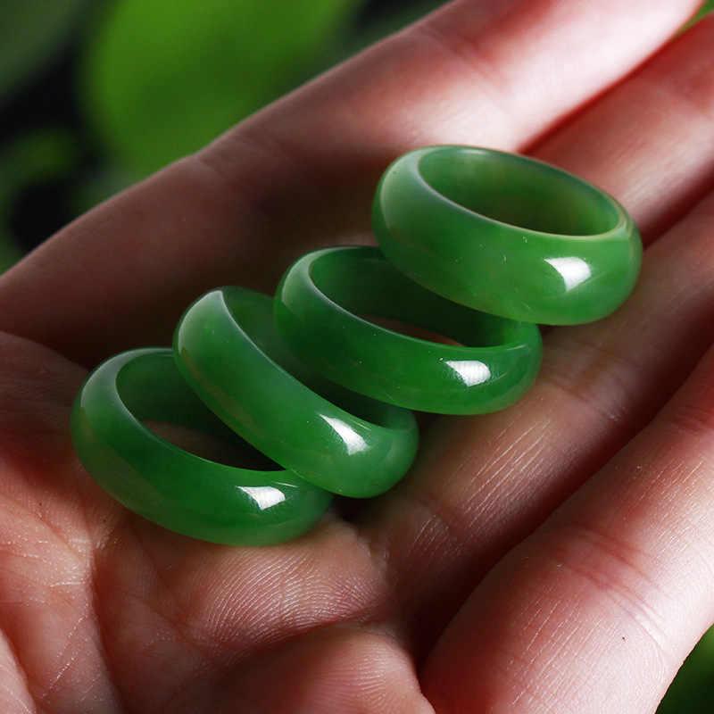 Drop Shipping 2019 ใหม่ผู้หญิงสีเขียวนิ้วมือคุณภาพสูง Hetian Jades แหวนของขวัญผู้ชายผู้หญิงปรับเครื่องประดับ