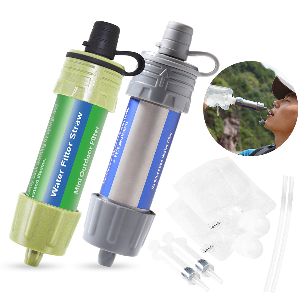 2PCS Outdoor Water Filter Straw Water Filtration System Water Purifier For Lightweight Compact Emergency Water Filter System