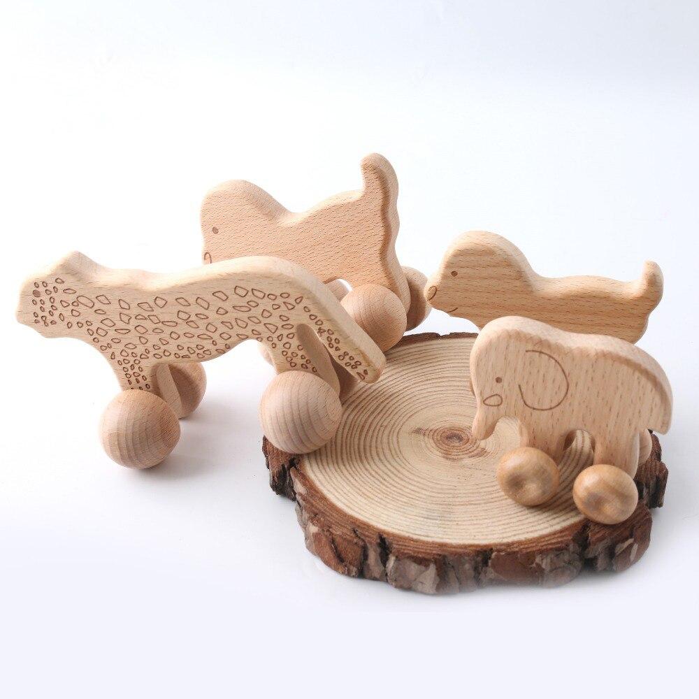 1pc Buche Spielzeug Holz Beißring Tiere Hunde Auto Cartoon Elefanten Montessori Spielzeug Für Kinder Zahnen Pflege Baby Beißringe