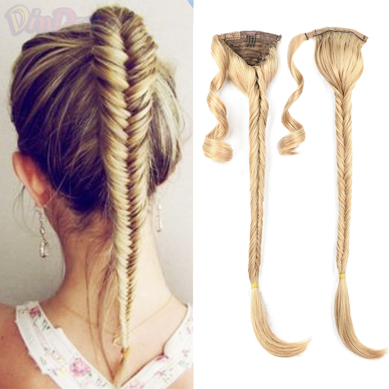 DinDong Fishtail Braids Hair Ponytail Extensions 24 inch Synthetic Drawstring Ponytail Hairpiec