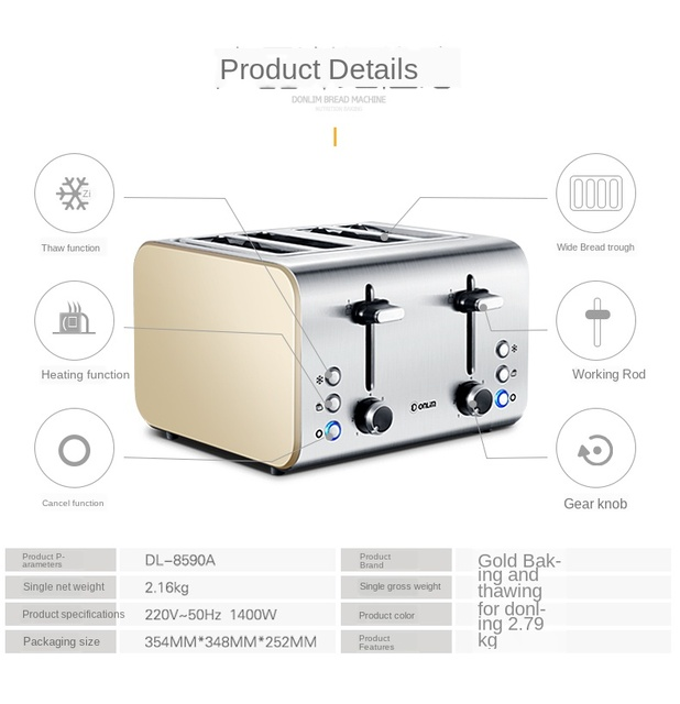 Donlim Toaster Household Breakfast Toaster 4 PCs Fully Automatic Toaster Breakfast machine Kitchen appliances Dropshipping 6