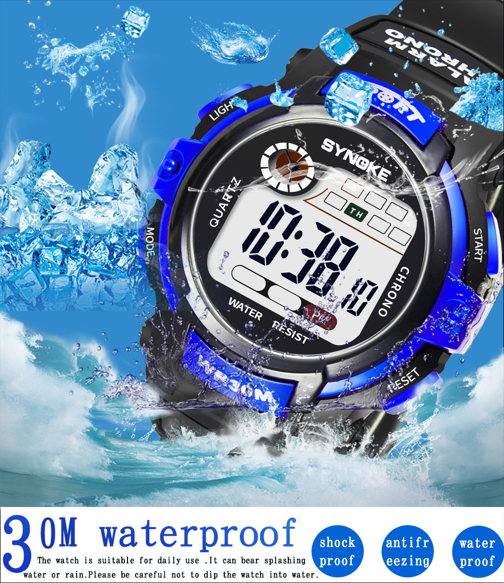 SYNOKE 2019 New Arrival Yellow Fashion LED Watches Waterproof  Sports Watches For Student Boys Girl's Children's Digital Watches
