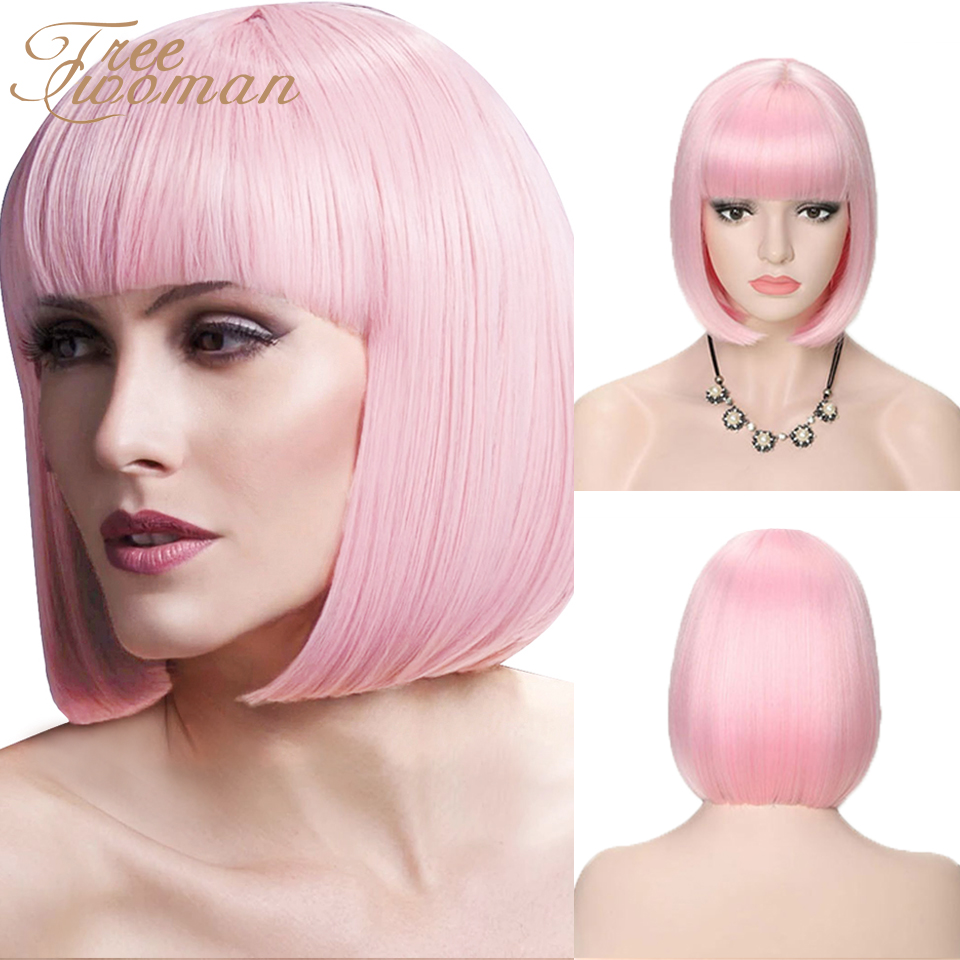 FREEWOMAN Short Wig With Bangs 12inch Heat Resistant Straight Bob Wigs For Women Fake Hair Extension Pink Purple Synthetic Wig