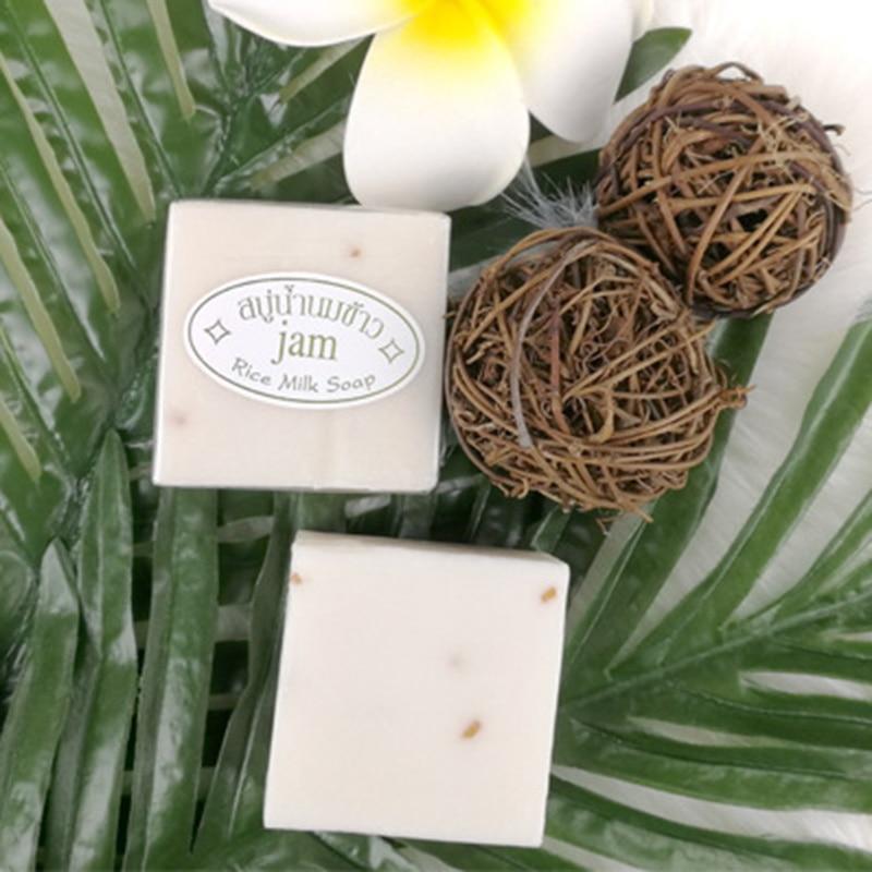 Thailand Jasmine Rice Handmade Soap Collagen Vitamin Skin Whitening Bathing Tool Rice Milk Soap Bleaching Agents Acne Soap TSLM1