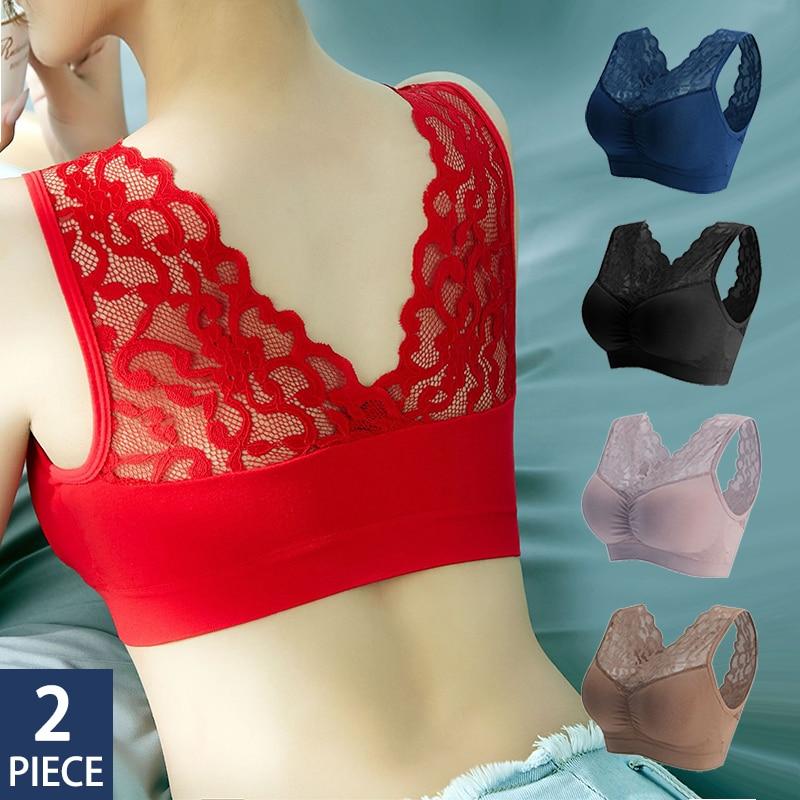 2pcs Women Bra Seamless Plus Size Bras For Women Sexy Lace Push Up Bralette Wire Free Bra With Pad Vest Top Bra Underwear Women