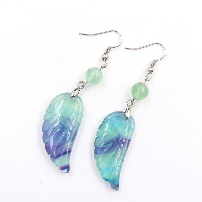 FYJS Unique Silver Plated Angel Wing with Small Beads Natural Fluorite Stone Drop Earrings for Christmas Gift in Drop Earrings from Jewelry Accessories