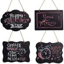 1PC Double-sided Blackboard Pendant Wood Crafts Mini Rectangle Chalkboard Label for Message Board Signs DIY Message Board цена