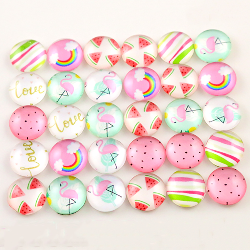 Hot Sale 50pcs 12mm  Mixed Handmade Photo Glass Cabochons-C6-33