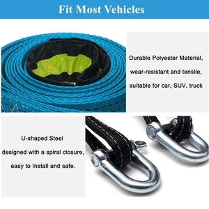 Image 4 - BENOO 5M/4M/3M 8T Universal Tow Rope Recovery Strap High Strength Towing Strap with Two Safety Hooks & Reflective Strip Gloves
