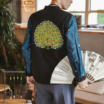 Peacock Embroidery Casual Mandarin Men Jackets Autumn 2019 Vintage Mens Jacket Fashion Single Breasted Male Coat 5Xl KK2938