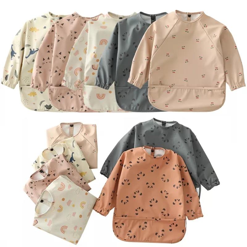 2Pcs Baby Bibs Waterproof Feeding Infant Eating Bib With Pocket Art Smock Washable Long Sleeve Apron Kid Burp Cloth Baby Stuff
