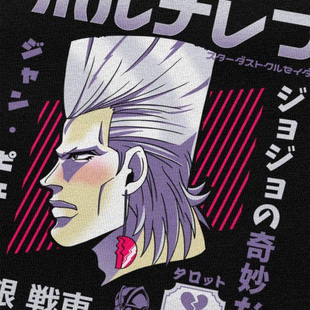 Cool Jojos Bizarre Adventure T Shirt Men's Crewneck Short-Sleeve Jean Polnareff Tshirt Summer Cotton Anime Manga Tee Tops Gift 3