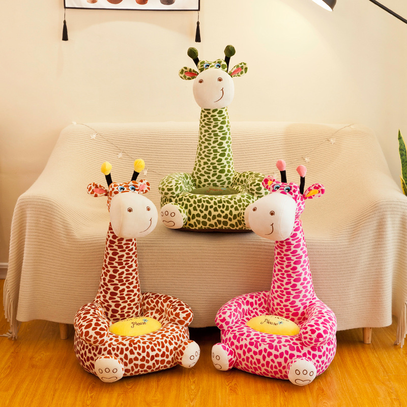 Cartoon Kids Seats Sofa Comfortable PP Cotton Animal Giraffe Small Big Size Baby Portable Chair Gifts For Children