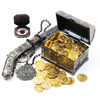 100Pcs Jewels Treasure Chest Gold Coins Crystal Filler Christmas Party Favor Halloween Children Birthday Gift Party Pirate pirate gold coins plastic set of 100 play gold treasure coins for play favor party supplies pirate party treasure hunt