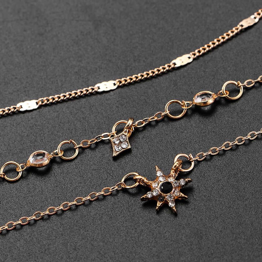 1PC femmes or multicouche chaîne Choker étoile cristal strass pendentifs collier déclaration joli bijoux cadeau
