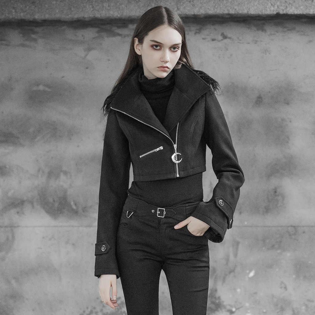 Женское красивое пальто с коротким воротником в стиле панк, с воротником, с расклешенными рукавами, неэластичная шерстяная Толстая зимняя теплая куртка
