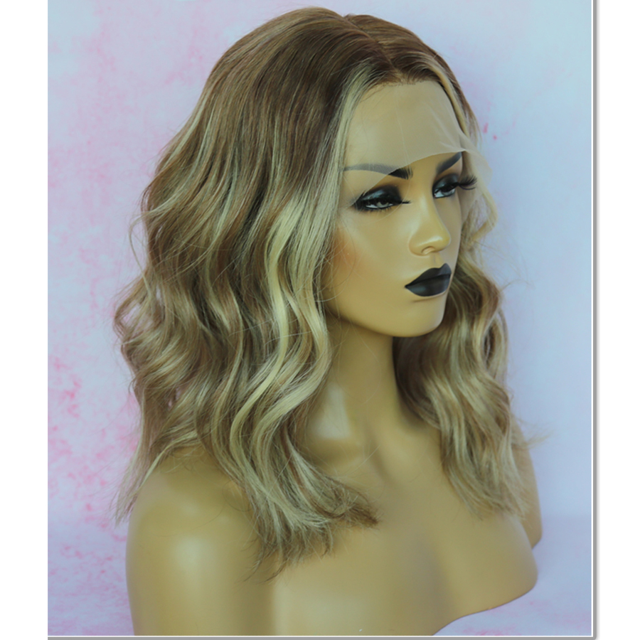 European Wigs Balayage T7/7/24 Lace Front Wigs Short BoB Wig Colored Human Hair Wigs Transparent Lace Wigs Ombre Blonde Wig