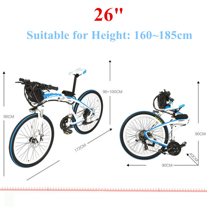 Lankeleisi 189.47 electric bicycle, folding bicycle, 26 inches, 36/48 V, 240 W, disk brake, fast folding, mountain 6